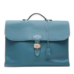 Hermes Blue Jean Clemence Leather Sac a Depeche Briefcase