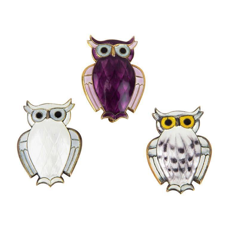 Three David Andersen Norway Enamel Owl Sterling Silver Brooch Pins For Sale