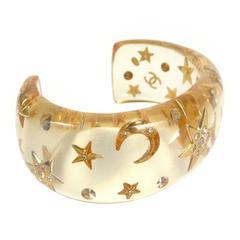 Chanel Moon & Star Bracelet Cuff - Clear Resin CC Crystal Rhinestone Bangle 95A