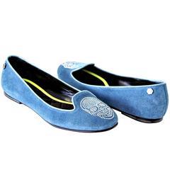 PHILIPP PLEIN Shoe Blue Suede Diamante Skull  39.5 / 9.5