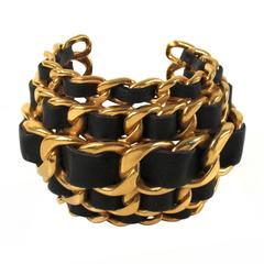 Chanel Cuff - XL Wide Chain Bracelet Vintage Black Gold Leather Bangle CC Charm