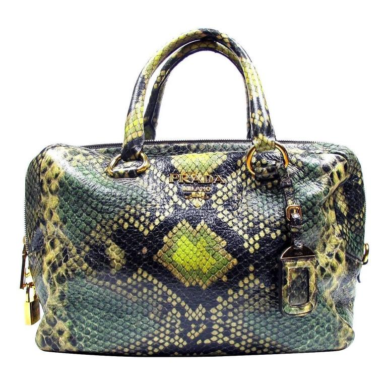 Prada Python Print Leather Large Bag Tote Brown Green