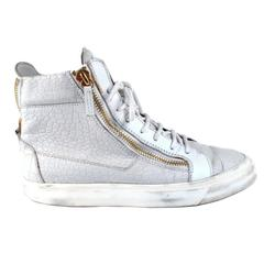 Giuseppe Zanotti Sneakers - US 7 - 40 - White Embossed Croc Leather Gold Zipper
