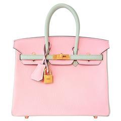 HSS Hermes Rose Sakura Gris Perle 25cm Chevre Birkin Special Order Horseshoe VIP