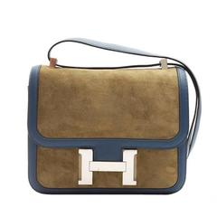 HERMES Tillleul / Bleu De Galice Two-Tone Suede Constance Shoulder Bag