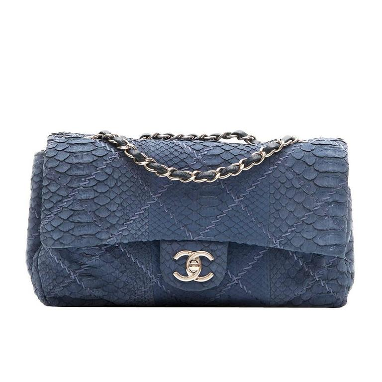 a18b4387fcb9 Chanel Blue Python Leather 2.55 Flap Handbag For Sale. A stunning  reimagining of the iconic Chanel 2.55 handbag. Crafted in rippling ...