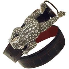 Classic Kieselstein Cord Sterling Silver Frog Buckle on Alligator Belt