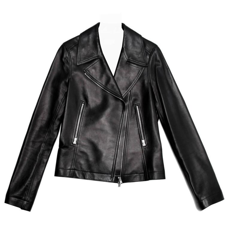 Alaia Black leather Moto Jacket For Sale