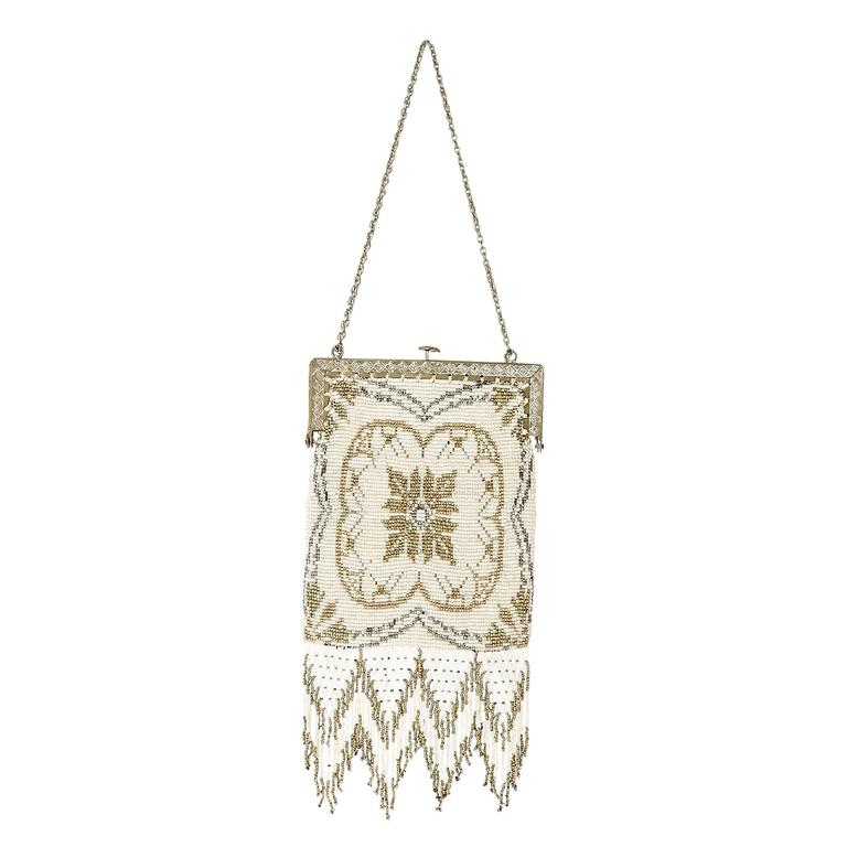 Ivory Whiting & Davis Vintage Beaded Clutch 1