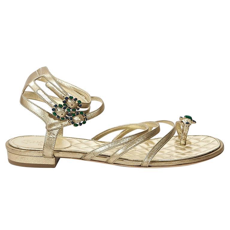 Gold Chanel Embellished Leather Flat Sandals For Sale