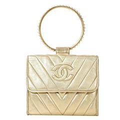 Gold Chanel Top Handle Evening Bag