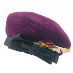 Givenchy aubergine velvet beret with feathers 1960s