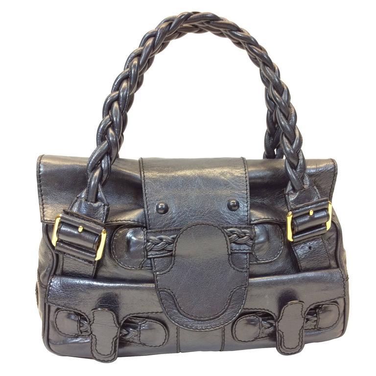 Valentino Garvani Navy Metallic Leather Handbag For Sale