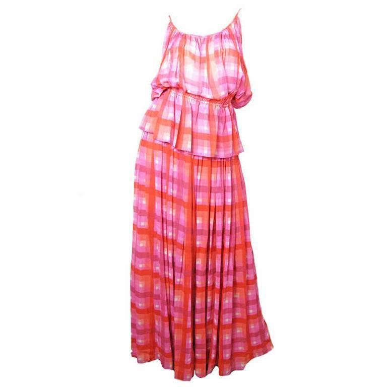1970s Gucci plaid silk chiffon sheer evening set - sale 1