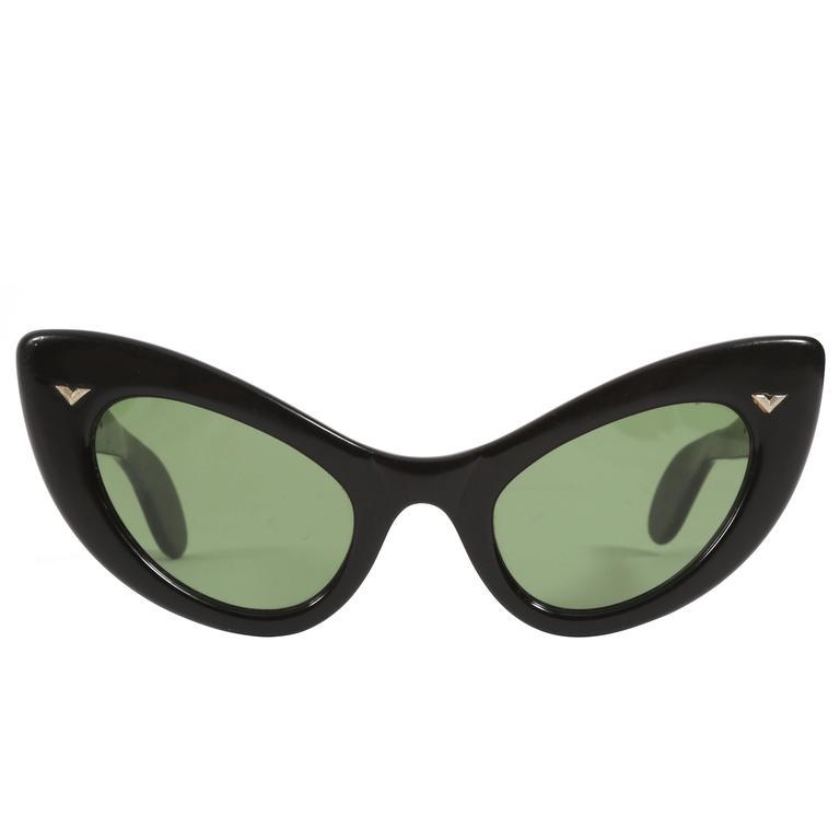black cat eye sunglasses, circa 1950s For Sale