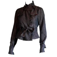 Rare Tom Ford YSL Rive Gauche FW04 Brown Embossed Silk Chinoiserie Jacket! FR 34