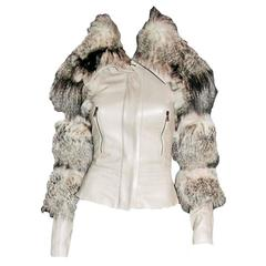 Rare Iconic Tom Ford Gucci FW 2003 Beige Leather Fox Fur Corseted Runway Jacket!