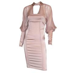 Super Rare & Iconic Tom Ford Gucci FW 2003 Nude Silk Corseted Runway Dress! 40