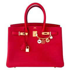Hermes Rouge Casaque 35cm Birkin Red Epsom Gold Hardware Gorgeous