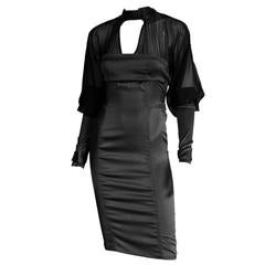 That Rare & Iconic Tom Ford Gucci FW 2003 Black Silk Corseted Runway Dress! IT40