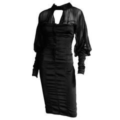 Heavenly Tom Ford Gucci FW 2003 Runway Collection Black Silk Corset Top & Skirt!