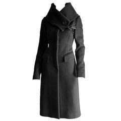 The Most Heavenly Tom Ford Gucci FW 2003 Black Cashmere Corseted Runway Coat!