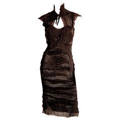 Rare & Iconic Tom Ford YSL Rive Gauche FW 2004 Brown Silk Runway Dress! FR 36