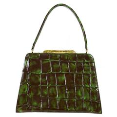 Christian Lacroix Vintage Rare Vibrant Croc Embossed Handbag