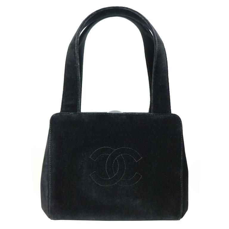"""Chanel Black Velvet """"CC"""" Logo Handbag"""