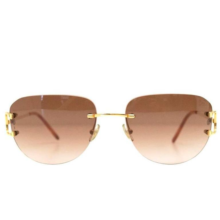 Cartier Rimless Sunglasses With Gold Hardware at 1stdibs
