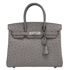 Hermes 30cm Palladium Hardware Gris Tourterelle Ostrich Birkin Bag