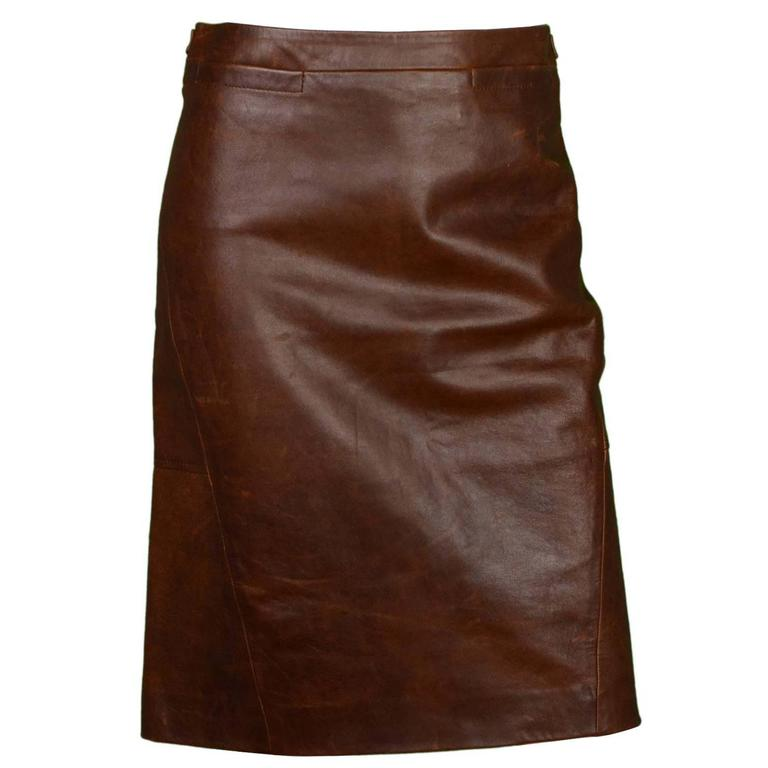 maxmara brown leather skirt sz 4 for sale at 1stdibs