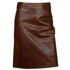 MaxMara Brown Leather Skirt Sz 4