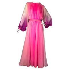 Norman Hartnell Vintage Silk Chiffon Grecian Maxi Dress