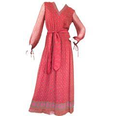 1970s Vintage Silk Indian Made Hardy Amies Maxi Dress