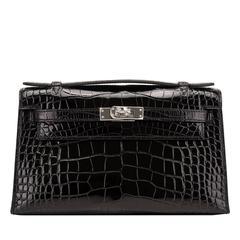 Hermes Black Shiny Alligator Mini Kelly Pochette