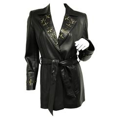 Escada Black Gold Embroidered Leather Belted Jacket New
