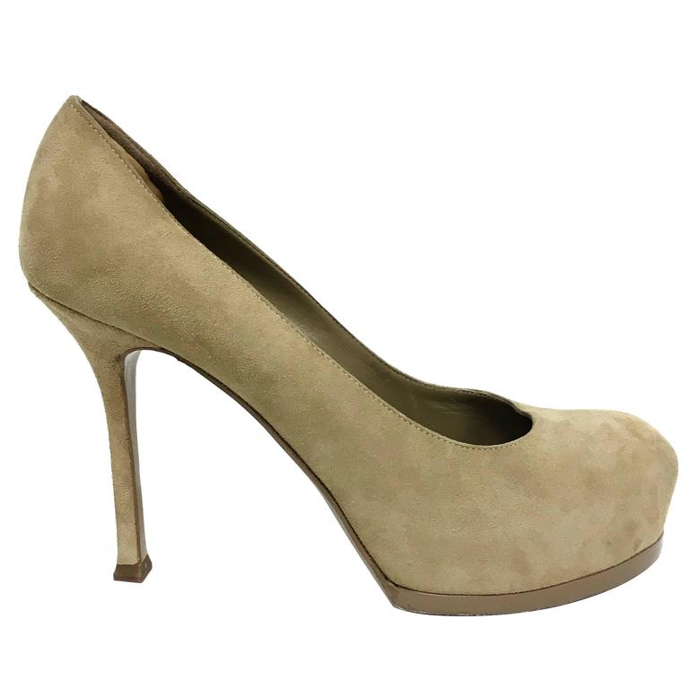 b006d765c7af YSL Yves Saint Laurent Tribtoo 80 Nude Suede Pump Shoes in Box Size 37 For  Sale