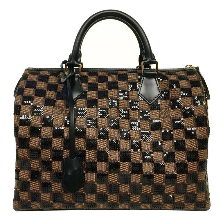3ace8c2f233 Louis Vuitton Limited Edition Speedy 30 Damier Paillettes Noir Sequin Purse  New