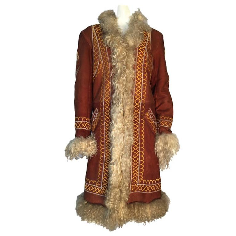 Original 1970s Vintage Afghan Hippy Embroidered Suede Shearling ...