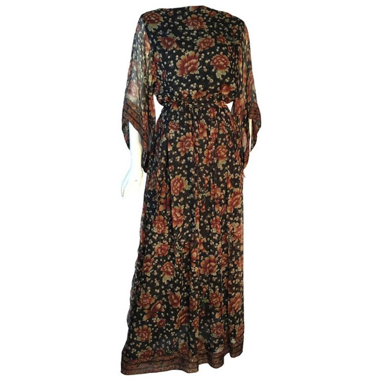 Vintage 1970s Treacy Lowe Indian Silk Chiffon Wide Sleeve Maxi Dress With Belt  1