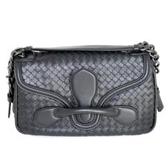 Bottega Veneta Ardoise Nappa Rialto Flap Shoulder Bag- Dark Grey