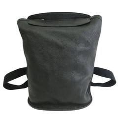 Hermes Vintage Black Leather Canvas Men's Women's Unisex Backpack Shoulder Bag