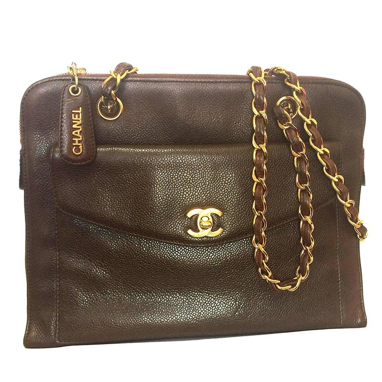 Vintage CHANEL dark brown caviar leather chain shoulder tote bag with golden CC. For Sale