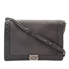 Chanel Grey Boy Reverso Larg Flap Bag