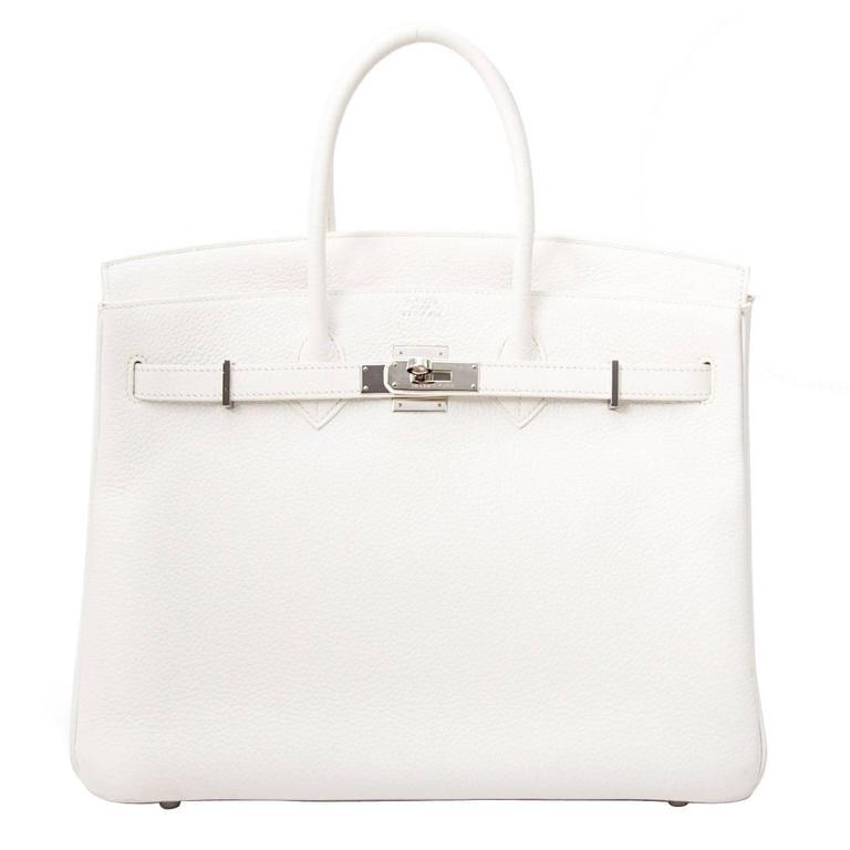 309d35d17418 Hermès Birkin 35 Taurillon Clemence Doublure Chevre Blanc at 1stdibs