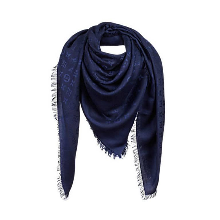louis vuitton monogram shawl blue marine m72412 for sale