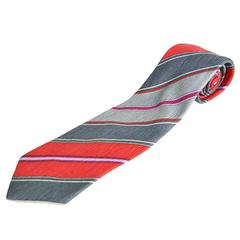 Pierre Balmain Red & Grey Silk Made in Italy Mens Tie, 1980s