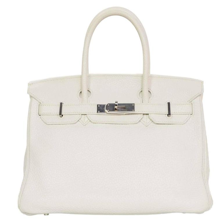 Hermes White Clemence Leather 30cm Birkin Bag PHW For Sale at 1stdibs d91faeafbc