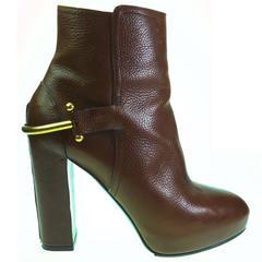 RALPH LAUREN Collection Brown Leather Platform Equestrian Ankle Boots Size 9.5